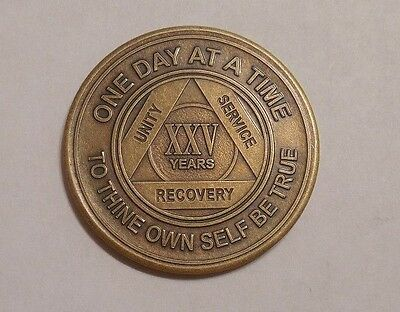 aa alcoholics anonymous bronze 25 year recovery sobriety coin token medallion