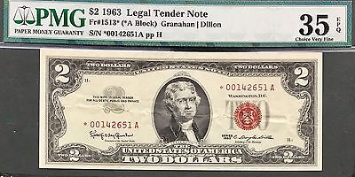 $2 Dollar Bill 1963 Red Seal. Graded By PMG (35). Star Note