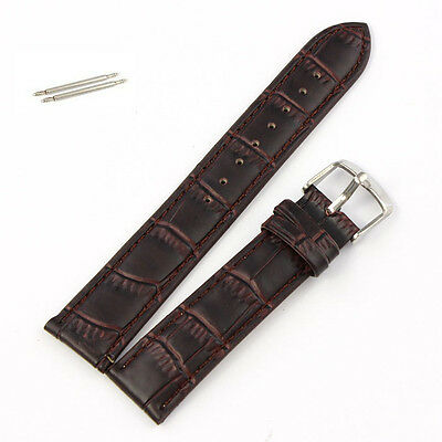 20mm Soft Leather Strap Steel Buckle Wrist Watch Band Brown DE