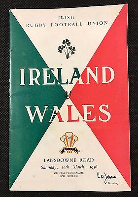 IRELAND V WALES RUGBY PROGRAMME, 10th March 1956, Lansdowne Road