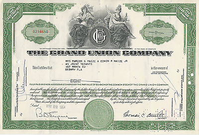 1964 THE GRAND UNION COMPANY STOCK CERTIFICATE Delaware Retailer Pay Cancer Bill