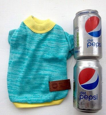 Chihuahua Size (Small) Turquoise & yellow Knitted Jumper Puppy Pet Dog Clothes