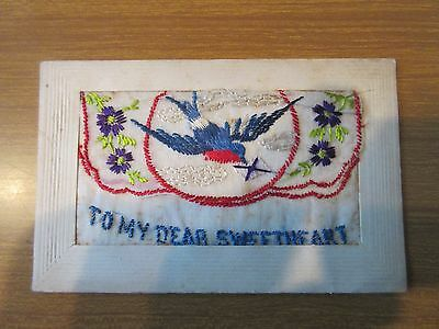 WW1 First World War Embroidered Silk Postcard from France ~To my Dear Sweetheart
