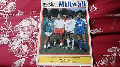 MILLWALL  v WALSALL   -  14/10/86   -  LITTLEWOODS  CUP  = FREEPOST