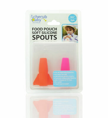 NEW Cherub Baby ORANGE / PINK SOFT SPOUT for Baby Food Pouch Fits all brand
