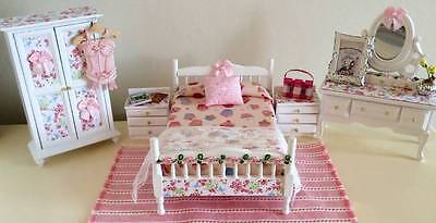 Dolls House Miniature 12Th Scale Shabby Chic White Bedroom Set + Extras - Corset