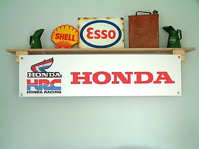 HONDA HRC Banner motorcycle racing garage or workshop retro pvc sign