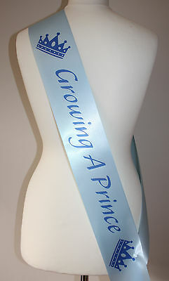 Baby Shower Sash Blue Sashes,GROWING A PRINCE Crown Blue/Blue Mummy Mum