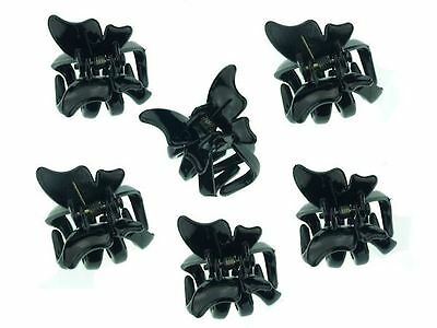 6 Black Mini Butterfly Hair Claw Clips Clamps Hair Accessories