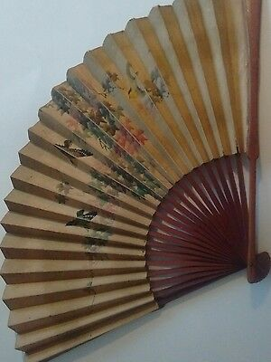 vintage hand painted fan with birds