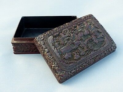 Antique Chinois Chinese Mark Qing Qianlong Cinnabar Lacquered Lacquer Box