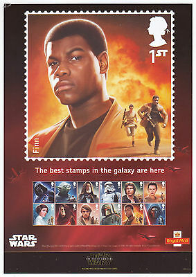 "LOT#288w - ROYAL MAIL / PO ""STAR WARS"" STAMP PUBLICITY ""FINN / REY"" DOUBLE SIDED"