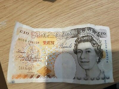 Charles Dickens Old £10 English Bank note