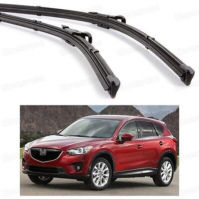2Pcs Car Front Windshield Wiper Blade Bracketless Fit for Mazda CX-5 2013-2016
