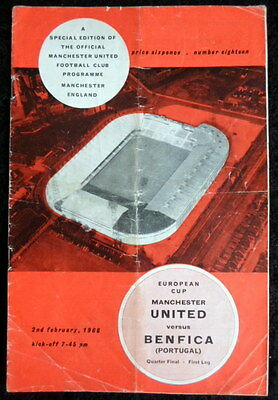 Manchester  United v Benfica   European cup 1/4 final   2-2-1966     with token