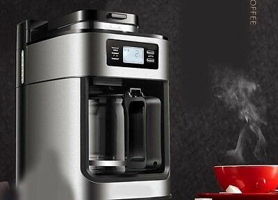 New Silvery Capacity 1.2L Office Home Commercial Fully-Automatic Coffee Maker &