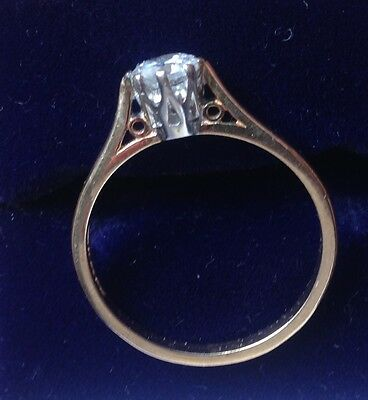 9ct 9Carat Yellow Gold Zirconia Solitaire Engagement Ring Size UK  P