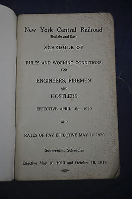 1920 New York Central Railroad Rules & Working Conditions Engineers Firemen Host