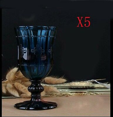 New 5X Capacity 300ML Height 170MM Blue Retro White Wine Glass/Glassware %