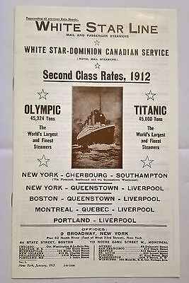 Titanic Reproduction Rate Sheet Booklet ,Second Class White Star Line.
