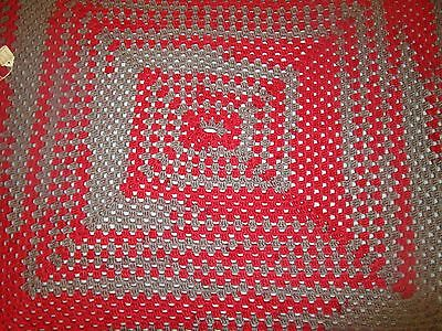 Crocheted Red & Gray Lap Blanket or Baby Blanket 36x36