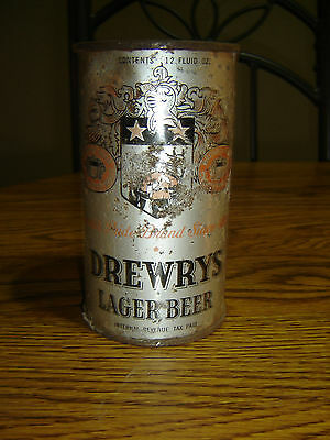 Drewrys Lager IRTP Opening Instruction Keglined Empty Flat Top Beer Can