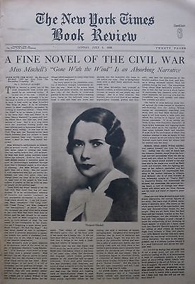 GONE WITH THE WIND - MARGARET MITCHELL CIVIL WAR 1936 July 5 Times Book Review