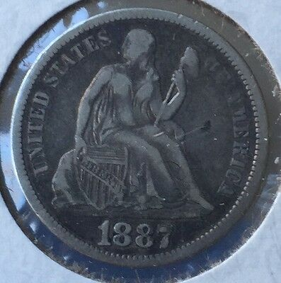 1887 Seated Liberty Dime Very Fine