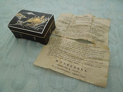 "Antique ""Takenaka"" Komei style mixed metal table box + paper, an old estate find"