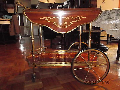 INLAID WOOD TEA / COFFEE CART WITH DROP LEAF - 1 leaf broken off but salvageable