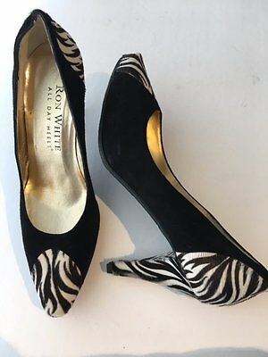 NEW Ron White All Day Heels 37 Black Zebra Shoes Pumps