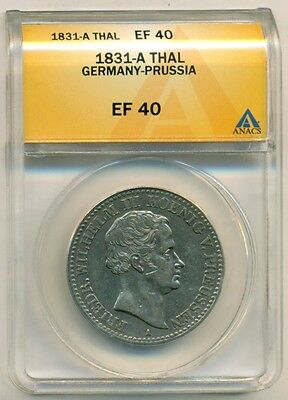 Germany States Prussia Silver 1831 A Thaler EF40 ANACS
