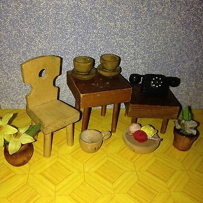 Vintage Dolls House Wooden Telephone & Items