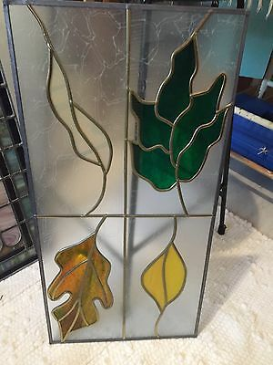 "Hand Crafted ~ STAINED GLASS 4 Botanical Leaves  WINDOW ~ 24"" x 12"""