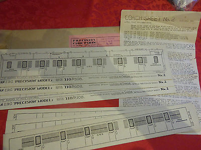 """O"" GAUGE..VINTAGE...ERG ""PRECISION"" CARD PARTS.  for GWR COACH   7mm."
