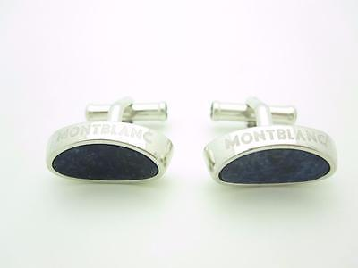 Montblanc Sterling Silver Oval Blue Lapis Cuff Links