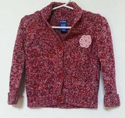 Baby Girl GENUINE KIDS BUTTON UP CARDIGAN SWEATER 18mo MULTI COLOR BURGUNDY RED