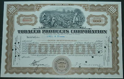 USA Tobacco Products Corporation Virginia 1912 100 Shares Certificate