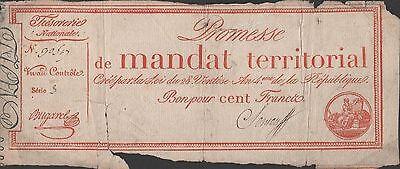 France , 100 Francs , 1796 , P A84 , Scarce Circulated Banknote