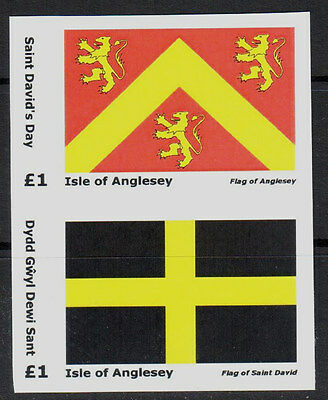 GB Locals: Isle of Anglesey: St David's Day & Anglesey Flag - IMPERF Set 2v MNH