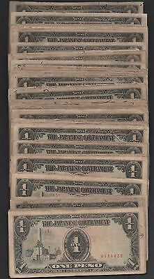 Philippines 1 Peso  ND. 1943  P 109a b Block { 1 to 87 }  Circulated Banknotes