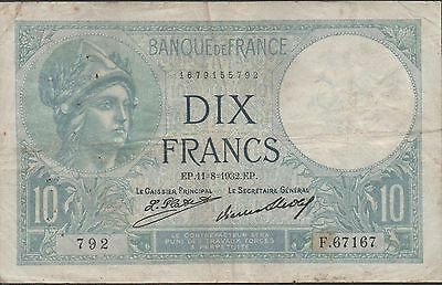 France , 10 Francs , 11.8.1932 , P 73d , Series F. 67167 , better date