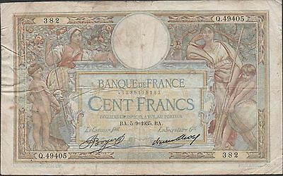 France  100 Francs 5.9.1935  P 78c  Series Q. 49405 Circulated Banknote