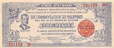 Philippines / City of Bacolod 2 Pesos 1.20.1942  Uncirculated Banknote , G. 1B