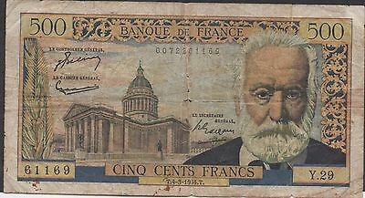 France 500 Francs  4.3.1964  P 133a  Serie Y. 29  Circulated Banknote