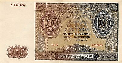 Poland  100 Zlotych   1.8.1941  P 103  Series A Circulated Banknote GH14