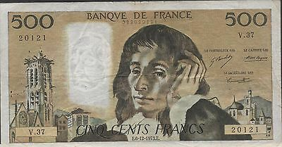 France 500  Francs  6.121973  P 156b  Series V. 37  Circulated Banknote 1/2 Cat.