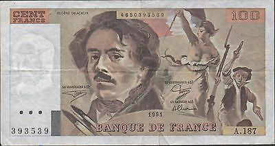 France 100  Francs  1990 P 154d Series F. 174 Circulated Banknote