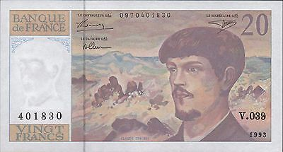 France 20  Francs  1993  P 151f  Series V. 039  Circulated Banknote