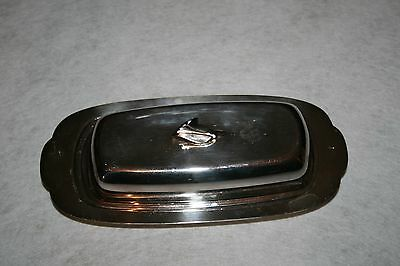 Vintage Oneida Silversmiths 3 Pc Butter Dish With Glass Insert